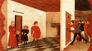 Host desecration - The second panel of Paolo Uccello's Miracle of the Profaned Host (c.1467-1469) from the Urbino Confraternity of Corpus Domini predella. Based on the Paris 1290 legend, a Jewish moneylender is cooking the host, which emanates blood. The Jew's wife, her unborn child, and her children look on in terror as the blood pours into the street in rivers while soldiers break through the door. The painting is structured around the Golden Section.