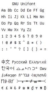 GNU Unifont is a duospaced typeface.