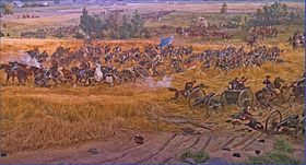Union Infantry and Artillery Advancing Toward The Angle July 3, 1863 -- Gettysburg (PA) Cyclorama 2012.jpg