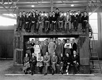Lawrence Berkeley National Laboratory -  University of California Radiation Laboratory staff on the magnet yoke for the 60-inch cyclotron, 1938; Nobel prizewinners Ernest Lawrence, Edwin McMillan, and Luis Alvarez are shown, in addition to J. Robert Oppenheimer and Robert R. Wilson.