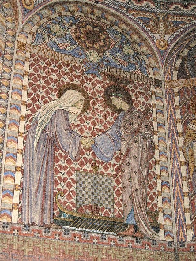 Painting of Saint Monica and Saint Augustine by Olle Hjortzberg. dans immagini sacre