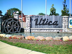 Downtown Utica welcome sign