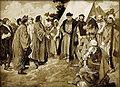 Věnceslav Černý - Jan Rokycana s poselstvím Pražanů u Jana Žižky, táhnoucího na Prahu r. 1424.jpg
