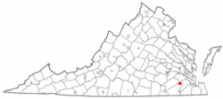 Location of Ivor, Virginia