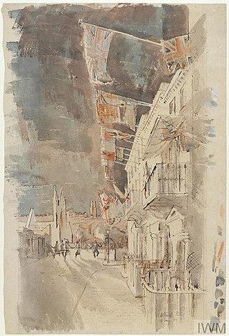 Clifford Ellis - VE-Day, Bath, 8th May 1945 (1945) (Art.IWM ART LD 5201)