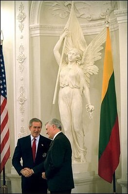 Valdas Adamkus and George W. Bush in Vilnius, Lithuania (2002)