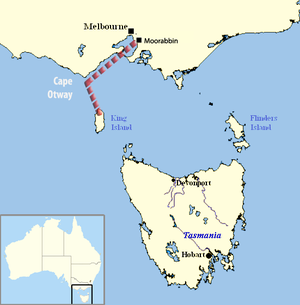 Disappearance of Frederick Valentich - Valentich's intended route from Moorabbin to King Island over Bass Strait.