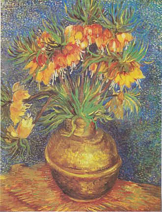 Still life paintings by Vincent van Gogh (Paris) - Fritillaries in a Copper Vase, 1887, Musée d'Orsay, Paris (F213)  This is an example of Van Gogh's integration of brighter, contrasting colors and Impressionist brushstroke techniques.