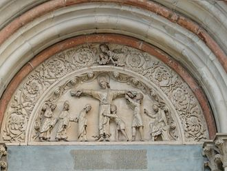 """Basilica di Sant'Andrea - Lunette with the """"Martyrdom of St. Andrew""""."""