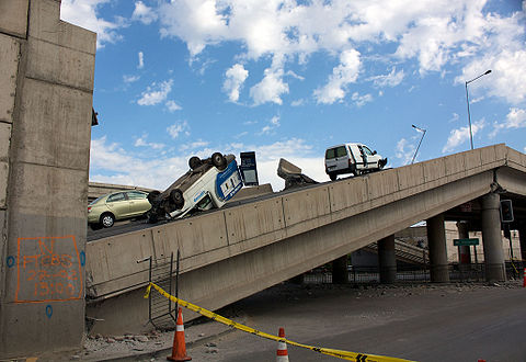 Collapsed Vespucio Norte Express Highway in Santiago, after the February earthquake.