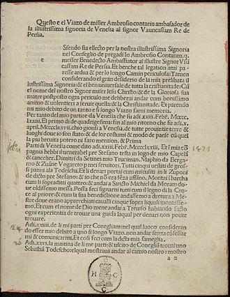 "Uzun Hasan - Ambrogio Contarini, Viaggio al signor Usun Hassan re di Persia (""Voyage to Sir Usun Hassan King of Persia""), 1487"