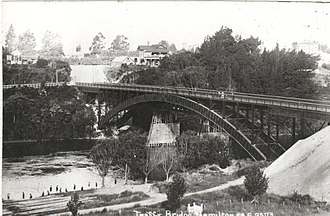 Hamilton, New Zealand - Victoria Bridge in 1910.
