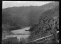View of the Manawatu Gorge, showing a railway tunnel ca 1903. ATLIB 273144.png