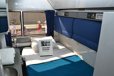 The interior of a Viewliner sleeping car bedroom with the lower bed down Viewliner (13970131747).jpg