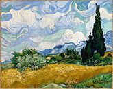 A painting of two large cypress trees under a bright afternoon sky, next to a wheat field in a landscape of hills, bushes, flowers and trees.