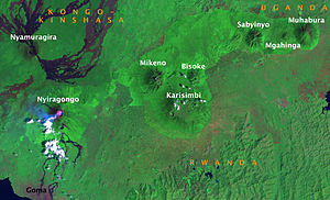 Virunga Mountains - Image: Virunga Mts Landsat 2007 01 31