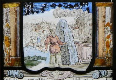 Samuel offers God a sacrifice and erects a large stone at the battle site as the Israelites slaughter the Philistines in the background, as depicted in an 18th-century stained-glass window (Pena Palace, Portugal). Vitral com representacao de Samuel e a batalha entre Israelitas e Filisteus (1728), Palacio da Pena (cropped).png