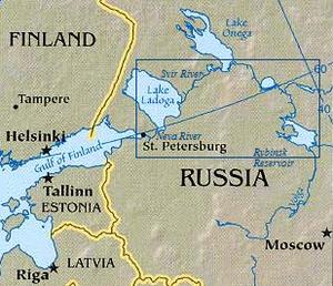 Northwest Russia - The Volga-Baltic Waterway.The four lakes are Ladoga, Onega, the small Lake Beloye and the Rybinsk Reservoir. East of Beloye is the long Lake Kubenskoye