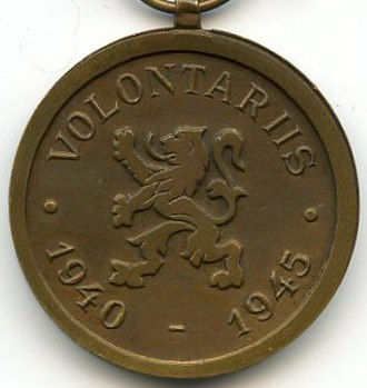 Volunteer's Medal 1940–1945 - Image: Volunteer 1940 45 revers Belgique