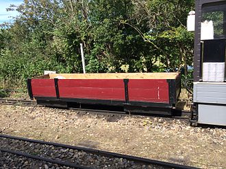Wells and Walsingham Light Railway - Bogie open wagon at Wells station.