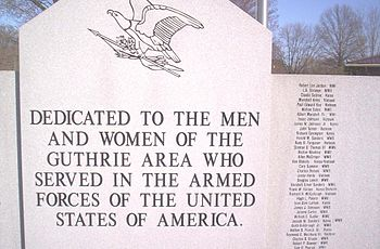 English: WAR MEMORIAL GUTHRIE-KENTUCKY