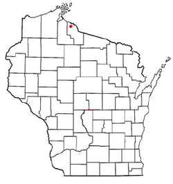 Location of Saxon, Wisconsin