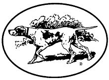 A black-and-white stylized drawing of a hunting dog, nose poked out to the left of the image, tail erect and behind the dog, with a group of trees in the background.