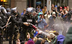 1999 Seattle WTO protests - A law enforcement agent sprays pepper spray at the crowd