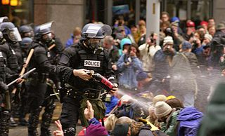 A law enforcement agent sprays pepper spray at the crowd