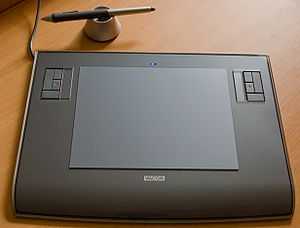 Graphics tablet - Wacom graphics tablet and pen-like stylus