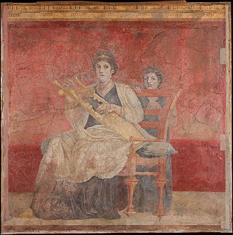 Ptolemaic dynasty - A seated woman in a fresco from the Roman Villa Boscoreale, dated mid-1st century BC, that likely represents Berenice II of Ptolemaic Egypt wearing a stephane (i.e. royal diadem) on her head