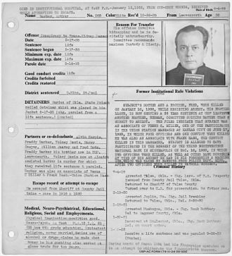 Arthur Barker - Barker's prison file with mugshot.