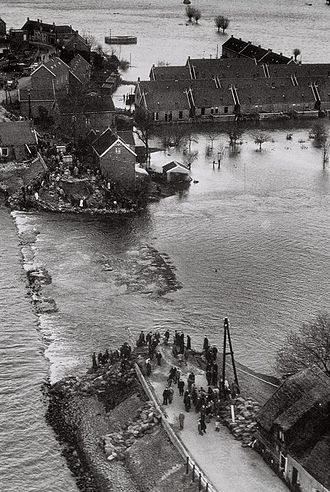 Levee breach - A breach in a dike during the North Sea flood of 1953.