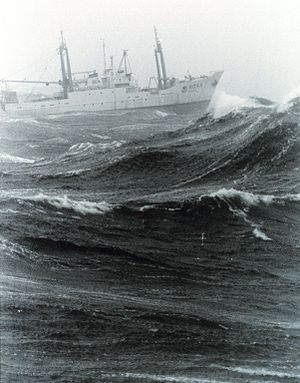 Wind wave - NOAA ship Delaware II in bad weather on Georges Bank