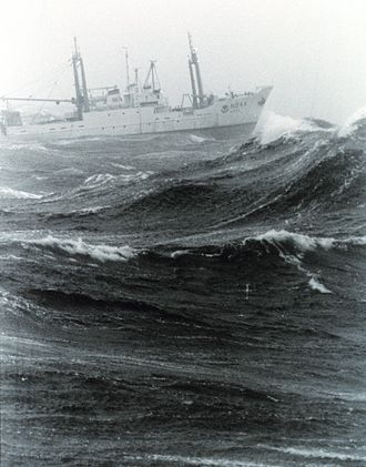 Sea state - NOAA ship Delaware II in foul weather on Georges Bank.