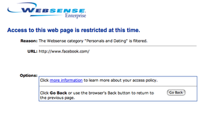 "Internet censorship - Screenshot of Websense blocking Facebook in an organisation where it has been configured to block a category named ""Personals and Dating"""