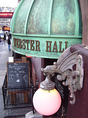 Webster Hall - Canopy and lighting sconce over side door