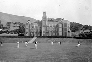Wellington College (New Zealand) - Cricket game at Wellington College, c. 1900