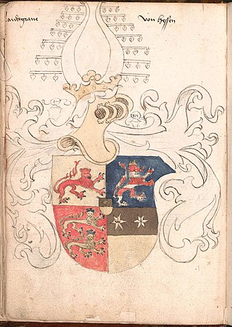 Lion (heraldry) - The coat of arms of the Landgrave of Hesse in the Wernigerode Armorial (late 15th century), shown as combining the lions of Hesse, Katzenelnbogen and Diez)