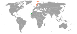Map indicating locations of Western Sahara and Norway