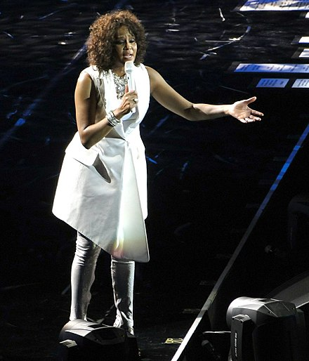 Whitney Houston at the O2 Arena, April 28, 2010, as part of her Nothing but Love World Tour WhitneyHoustonApril2010.jpg