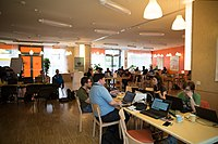 Wikimedia Hackathon Vienna 2017-05-20 Mentoring Area 02.jpg