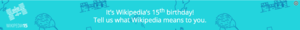 Wikipedia 15 banner in teal.