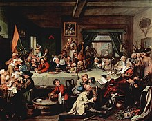 "a satirical painting by William Hogarth. It shows canvassers for the Whig Party relaxing in an inn after an affray outside with their opponents from the Tory Party. On the floor, trampled underfoot, is a Tory campaign poster reading ""Give us our Eleven Days"""