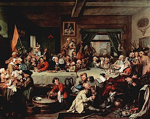 "Calendar reform - William Hogarth's An Election Entertainment includes a banner with the protest slogan against the Gregorian calendar: ""Give us our Eleven days"" (on floor at lower right)"