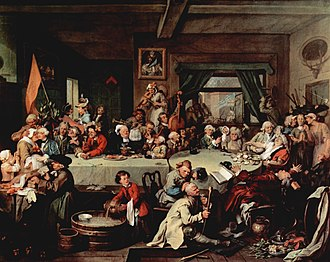 "Adoption of the Gregorian calendar - William Hogarth painting: Humours of an Election (c. 1755), which is the main source for ""Give us our Eleven Days""."