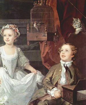 Man and the Natural World: Changing Attitudes in England 1500–1800 - Children with cat and cage-bird, 1742. The bird is probably a goldfinch.