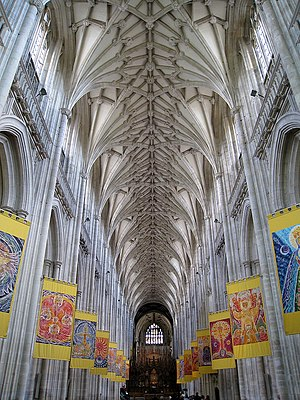 Thetis Blacker - The Nave, Winchester Cathedral with batik festival banners by Thetis Blacker