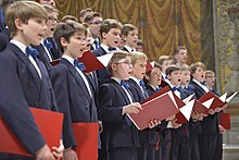 The singers of the Windsbach Boys Choir in the Sistine Chapel.