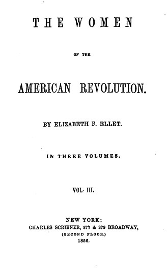 Elizabeth F. Ellet - Frontispiece of The Women of the American Revolution (1856 edition)